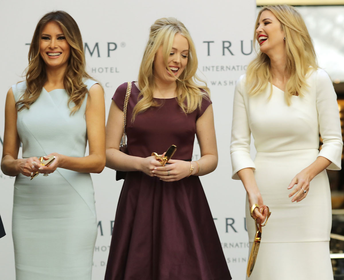 Melania, Tiffany and Ivanka Trump on stage