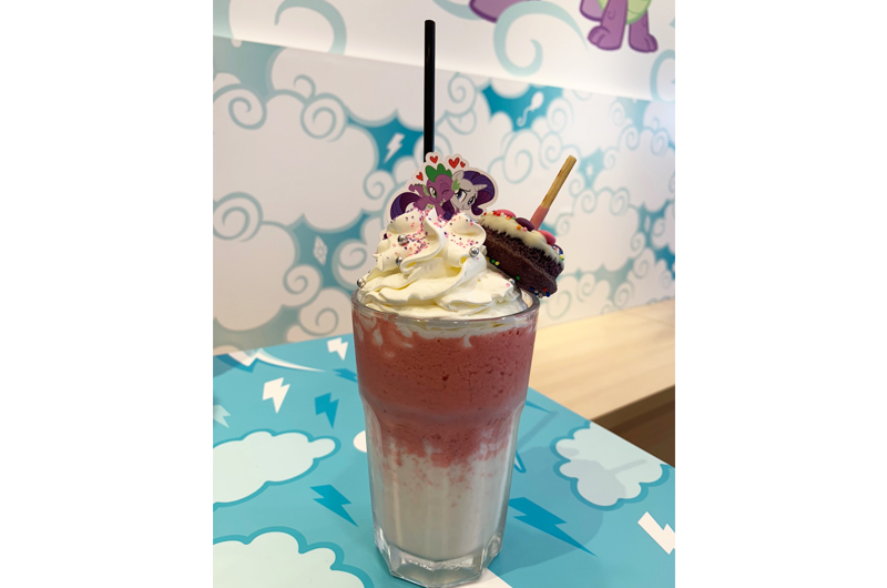 Magical Friends Vanilla Strawberry Frappe with Colourful Donut Cake ($13.90)